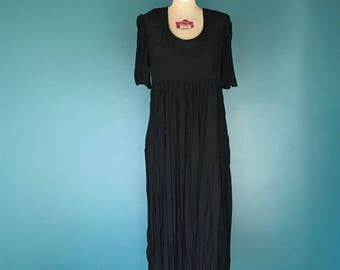 90s Minimal Dress, Black Market Dress, Vintage Maxi Dress, Sheer Black Dress, Black Maxi Dress, Oversize Dress, 90s Market Dress