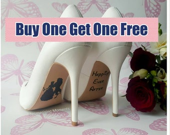 Wedding Shoe Decal Sticker / Beauty and the Beast / Happily Ever After / Love / Marriage