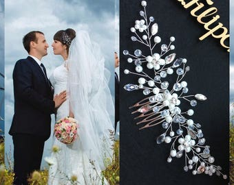 Swarowski Bridal hair comb,Crown,Bridal hair vine,Crystals Bridal Wedding,Hairpiece Bridal Hair Vine,Wedding hair-vine,pearl hair vine 32