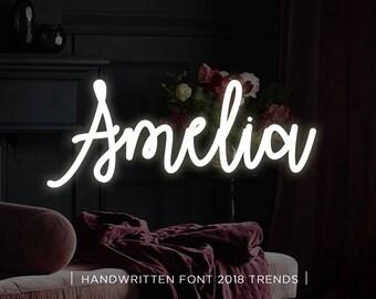 Amelia digital font download, Calligraphy font, Digital font, Wedding font, Handwritten font, Download digital font, Swirly font, Script