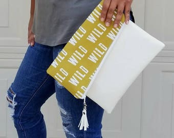 Mustard Yellow Clutch Bag, Wild Clutch Purse, Faux Leather Clutch, Large Clutch, Leather Clutch, Wristlet Clutch, Clutch Purse, Gift Idea