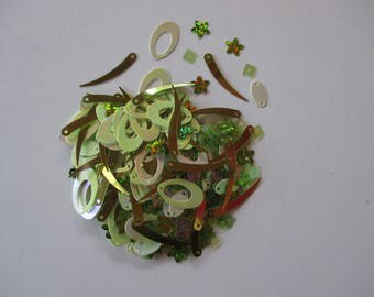Assortment of sequin, sewing or craft, degrade color green.