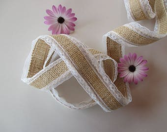 2, lace Ribbon, natural linen with small lace border.