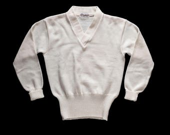 1950s White V Nevk Pullover Sweater