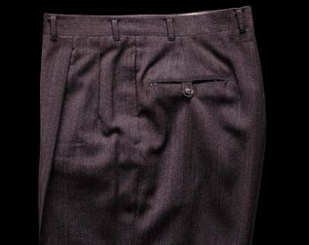 40s 50s Brown Herringbone Twill Trousers W/ Subtle Green Pinstriping 38.5 W