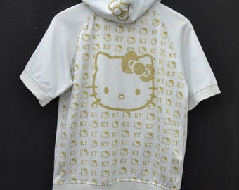 HELLO KITTY Track Top Vintage 90's Hello Kitty Sanrio Tokyo Japan All Over Print Hoodies Track Top Zipper Jacket Sweater Size M