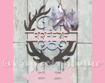 Baby Girl / Deer Antlers / Arrow / Hospital Door Hanger / Welcome Baby / Birth Announcement