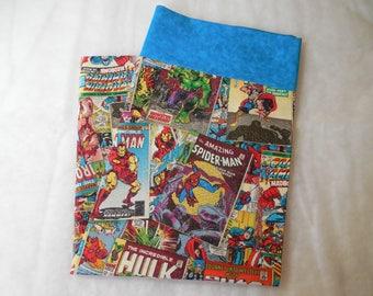 Marvel Comic Pillowcase-Marvel Decor-Superhero Bedding-Retro Marvel Comic -Marvel Comic