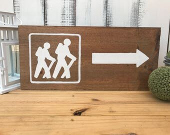 Hiking This Way Hand Painted Wood Sign