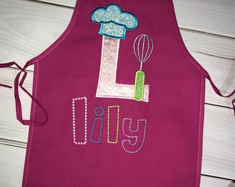 Valentines Day Gifts!  Personalized kids apron, Monogram Appliqué- chefs hat and whisk