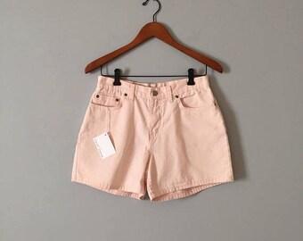 20% OFF SALE... blush pink denim shorts // 90s high waisted shorts