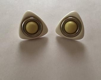 1980s futuristic triangle earrings | geometric minimalist mod stud earrings