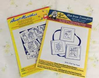 Lots of 2 Packages Aunt Martha's Hot Iron Transfers / #3510 Fruit Tea Towel / #3749 Fanciful Fruit / embroidery / fabric painting / crafting