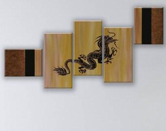 Chinese dragon 5 panels. Chinese dragon Toronto, Hand painted.