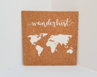 Wanderlust Map! Push Pin Cork Travel Map of the World - Pinnable Cork Map of the Globe- Travel Map