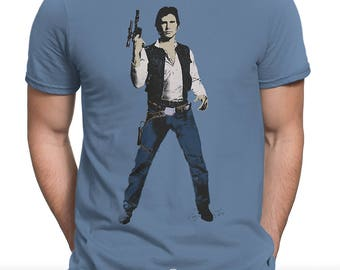 Han Shot First 'Episode I - Millennium Falcon' Unisex Mens T-shirt (Andy Warhol Elvis Pop Art Star Wars Parody)