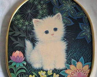 Vintage Hot Pad Trivet with Kitten / White Kitten Hot Pat Trivet / Hanging Hot Pad Trivet / K. Chin / N.C. Cameron & Sons Ltd. Giftware