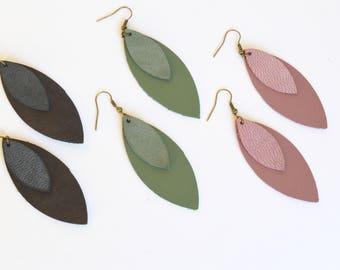 Black Leather Leaf Earrings: Charcoal Black Stacked Leaf Earrings // Leafy Treetop Leather