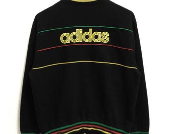 RARE!!! Adidas Big Logo SpellOut Black Colour Button Down Sweaters Hip Hop Swag L Size