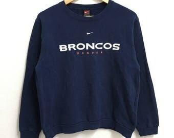 RARE!!! Nike Broncos Big Logo Crew Neck Dark Blue Colour Sweatshirts Hip Hop Swag Boys Size
