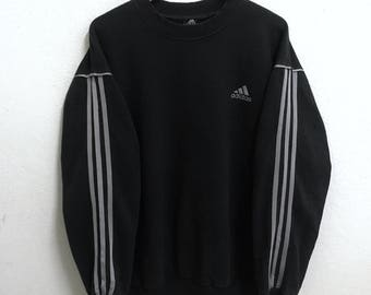 RARE!!! Adidas Equipment 3 Stripes Crew Neck Black Colour Sweatshirts Hip Hop Swag XL Size