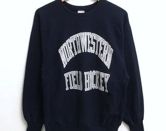 RARE!!! Champion Reverse Weave Northwestern Field Hockey Big Logo Crew Neck Dark Blue Colour Sweatshirts Hip Hop Swag L Fit M Size