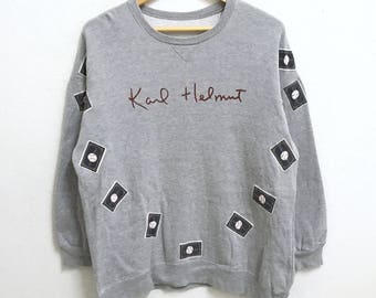 RARE!!! Karl Helmut Big Logo SpellOut Crew Neck Grey Colour Sweatshirts Hip Hop Swag M Size