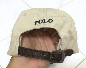 RARE!!! Polo Ralph Lauren Small Pony Cap Hat Leather Adjustable
