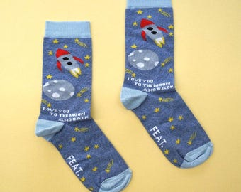Love You To the Moon sock