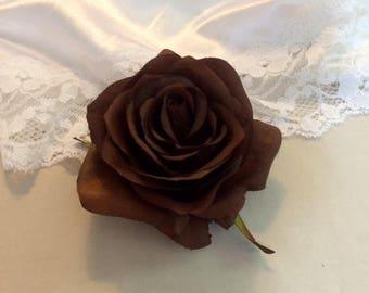 Brown Rose Silk Flower Hair clip