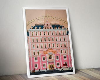 Wes Anderson poster, Grand Budapest hotel,  grand budapest print, grand budapest canvas, wes anderson vintage print, grand budapest vinage