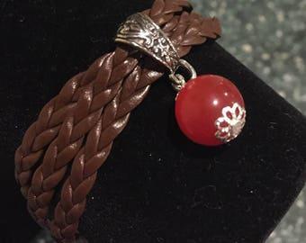 Natural Orange Opal Men's Bracelet