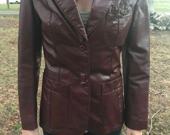 Vintage burgundy leather aigner jacket