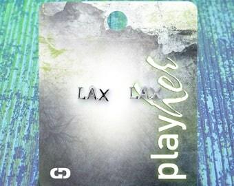 Silver LAX Lacrosse Post Earrings - Great Lacrosse Gift! Free Shipping!