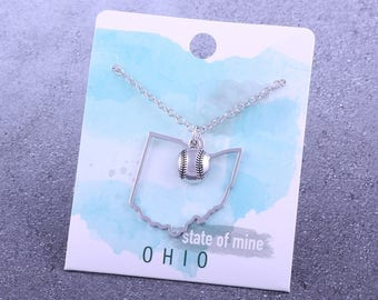 Customizable! State of Mine: Ohio Softball Silver Necklace - Great Softball Gift!