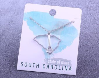 Customizable! State of Mine: South Carolina Lacrosse Stick Silver Necklace - Great Lacrosse Gift!