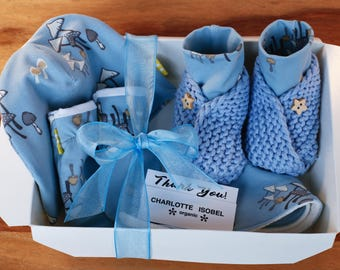 Miniature Mushroom Woodland Scene Baby Gift Set in Baby Blue Organic Cotton