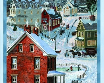 "Wilmington Prints - ""After The Snow"" 100% Cotton Fabric Panel (#166)"