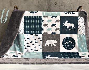 Bear crib bedding etsy for Mountain crib bedding