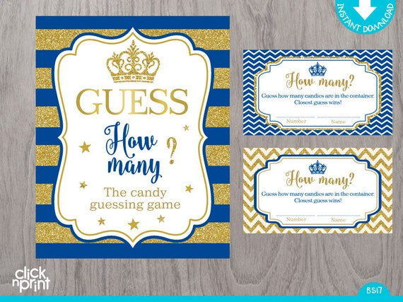 Royal Blue And Gold Glitter Candy Guessing Game Print Yourself