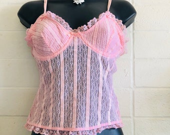 PINK LACE CAMISOLE vintage semi-sheer sm-med free domestic shipping
