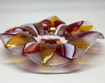 Fused Glass Bowl – Red & Gold Flower Bowl