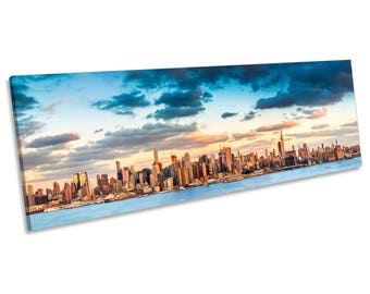Manhattan New York City Panorama CANVAS WALL ART Framed Print