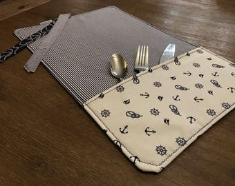 ANCHORS / placemat roll utenciles, portable place mat, for school, for work, placemat for lunchbox!