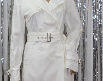 Rare 90's Vintage Express Winter White Trench Coat (XS)