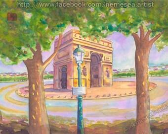 Original Paris Arc de Triomphe Watercolor drawing PG93 landscape watercolor painting