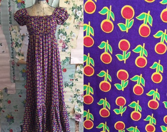 Vintage 1960/1970s Printed Cotton Floral Peasant Top Maxi Dress. Small/Medium. Purple, yellow, psychedelic, Mr. B of California