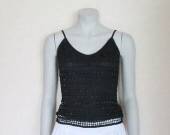 Spaghetti Straps Black Crocheted Top Vintage Romantic Summer Trends Medium Size