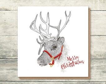 Reindeer Christmas Card | Holiday Cards | Rudolph | Illustrated Christmas Cards | Cute Christmas Cards | Handdrawn Christmas Cards
