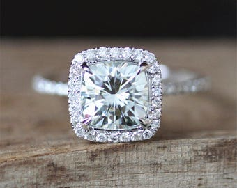 Payment Plan For Andy 7.5mm Cushion Cut Forever Brilliant Moissanite Engagement Ring Stack 3/4 Eternity Wedding Ring 14K White Gold Ring Set